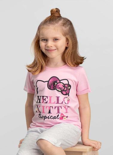 Hello Kitty Hello Kitty Lisanslı Yavruağzı Kız Çocuk T-Shirt Pembe